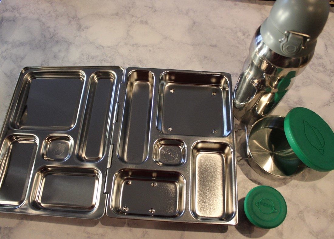 PlanetBox stainless steel lunch box set.