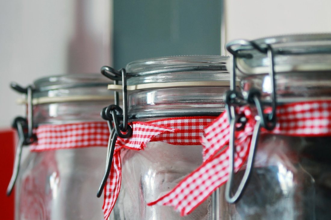 jars with red ribbon