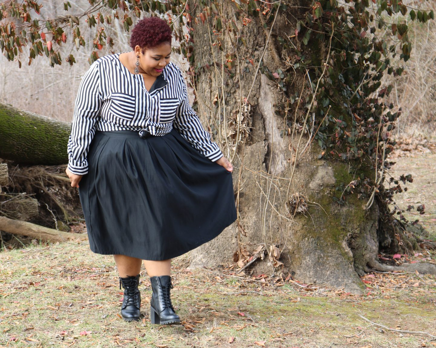 Black A-line skirt and strip shirt