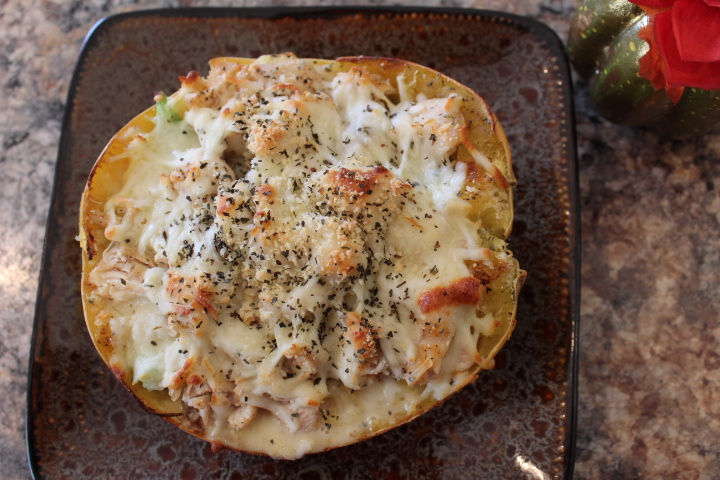 Spaghetti Squash Chicken alfredo, great for low carb and keto diet eating.