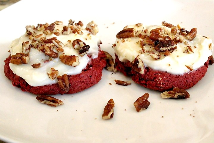 Red velvet cake mix cookies with creamy cream cheese frosting