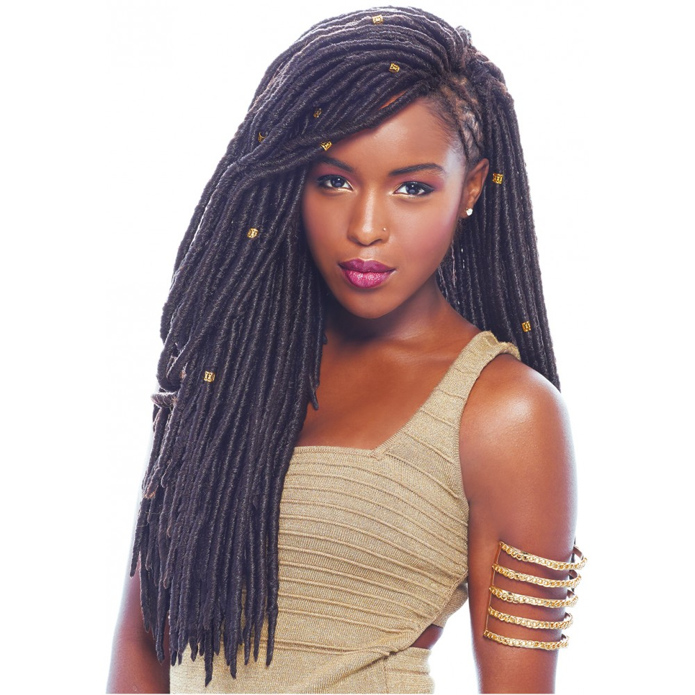 Straight Faux Locs hair from black hair spray